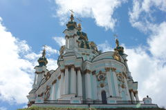 St. Andrews Church in Kiev. On blue sky background royalty free stock photos