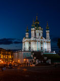 St. Andrew's Church in Kiev, evening lights Stock Photo