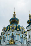 St Andrew's Church, Kiev, Orthodox church. St Andrew's Church, Orthodox church in Kiev, the capital of Ukraine. Orthodox monastery church with big domes, light stock photo