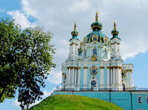 St Andrew's Church, Kiev, Orthodox church. St Andrew's Church, Orthodox church in Kiev, the capital of Ukraine. Orthodox monastery church with big domes, light stock photography