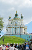 St Andrew's Church, Kiev, Orthodox church. St Andrew's Church, Orthodox church in Kiev, the capital of Ukraine. Orthodox monastery church with big domes, light stock images