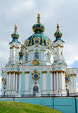 St Andrew's Church, Kiev, Orthodox church. St Andrew's Church, Orthodox church in Kiev, the capital of Ukraine. Orthodox monastery church with big  domes, light Royalty Free Stock Photography