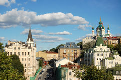 St. Andrew`s Church, Kiev, Ukraine. St. Andrew`s Church and tower of the king Richard ,Kiev, Ukraine stock photo