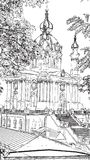 Artwork black and white drawing St. Andrew`s Church illustratio vector illustration