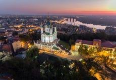 St. Andrew`s Church Kiev Ukraine. Cityscape from a height. City panorama of Kiev. Andreevsky spusk city Kyiv Royalty Free Stock Photography