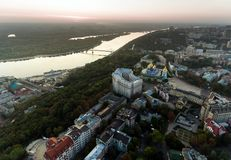 St. Andrew`s Church Kiev Ukraine. Cityscape from a height. City panorama of Kiev. Andreevsky spusk city Kyiv Stock Image
