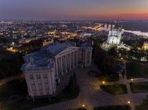 St. Andrew`s Church Kiev Ukraine. Cityscape from a height. City panorama of Kiev. Andreevsky spusk city Kyiv Stock Photo