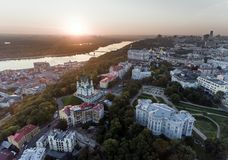 St. Andrew`s Church Kiev Ukraine. Cityscape from a height. City panorama of Kiev. Andreevsky spusk city Kyiv Royalty Free Stock Photos