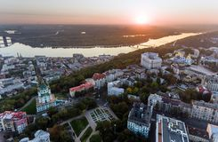 St. Andrew`s Church Kiev Ukraine. Cityscape from a height. City panorama of Kiev. Andreevsky spusk city Kyiv Royalty Free Stock Images