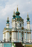 St Andrew Church, Kiev, Ukraine. St Andrew Church, Orthodox church in Kiev, the capital of Ukraine. Orthodox monastery church with big domes, light green walls stock photography