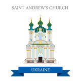 St Andrew's Church Kyiv Kiev Ukraine flat vector sight landmark. St Andrew's Church in Kyiv Kiev Ukraine. Flat cartoon style historic sight showplace attraction Royalty Free Stock Photos
