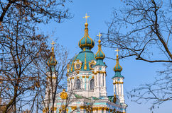 St. Andrew`s church in Kyiv, Ukraine. Stock Photo
