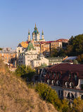 St. Andrew's Church and the old houses on the St. Andrew's Descent. Kiev Stock Images
