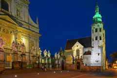 St Andrew`s Church and parish church of St. Peter and Paul in Krakow. By night, Poland, Europe, 4. July 2004 Stock Photography