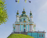 St. Andrew`s Church of 18th century in Kiev Royalty Free Stock Images