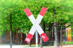St. Andrew`s Cross on a railroad crossing royalty free stock photos
