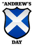 St Andrew's Day. An illustration of a scottish flag in the shape of a shield celebrating Saint Andrew's Day held in November. Text place on separate layer for Royalty Free Stock Photo