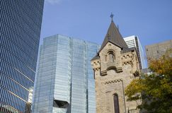 St Andrew`s Presbyterian Church and CN Tower, Ontario, Royalty Free Stock Photos