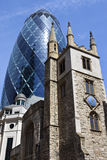 St Andrew Undershaft Church and the Gherkin in London Royalty Free Stock Photos