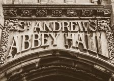 St Andrews Abbey Hall Carved na pedra imagem de stock royalty free