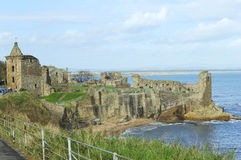 St. Andrews ancient castle. Ruins of St. Andrews ancient castle with Angus coast in background stock photos