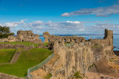 St. Andrews Castle. Famous medieval castle on the cliffs of St. Andrews at the east coast of Scotland stock photo