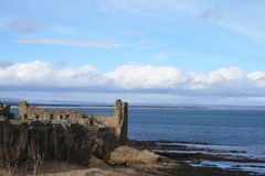 St Andrews Castle Ruins. View of the ruins of St Andrews Castle stock image