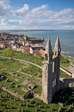 St Andrews cathedral east gable from the tower. A view of St Andrews, Scotland, with the east gable of the ruined cathedral in the foreground royalty free stock photo