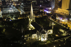 St Andrews Cathedral in Singapore. The St. Andrew's Cathedral in Saingapore at night stock images