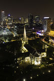 St Andrews Cathedral in Singapore. The St. Andrew's Cathedral in Saingapore at night royalty free stock photography