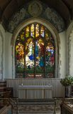 St Andrews Church Wickhambreaux. St Andrews Church Altar and Baptistry window in the Kent village of St Wickhambreaux royalty free stock photo