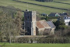 St Andrews Church, Compton Bishop. 13th century grade I listed church below the slopes of Wavering Down & Crook Peak royalty free stock photography