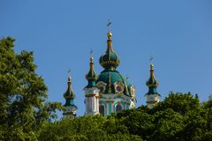 St Andrews Church in Kiev, summer. View of St Andrews Church in Kiev at summer royalty free stock photo