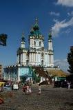 St. Andrews Church, Kiev. St. Andrews Church in Kiev, Ukraine - Orthodox church in honor of St. Andrew, built in baroque style by architect Bartolomeo Rastrelli stock photos