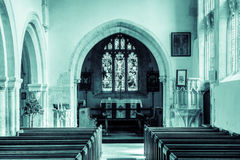 St Andrews Church Nave B HDR. England, Chedworth - October 21, 2016: St Andrews Church Nave B HDR black and white photography split toning royalty free stock images
