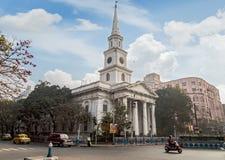 St. Andrews Church a notable landmark at Dalhousie BBD Bag area at Kolkata. KOLKATA, INDIA -FEBRUARY 12, 2017: St. Andrews Church a notable landmark at stock photo