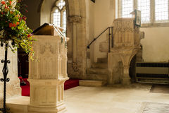 St Andrews Church Pulpit B. England, Chedworth - October 21, 2016: St Andrews Church Pulpit B stock photos