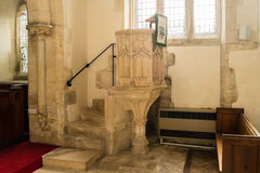 St Andrews Church Pulpit C. England, Chedworth - October 21, 2016: St Andrews Church Pulpit C stock photography