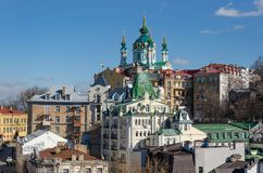 St. Andrews Church. View of the St. Andrews Church from Castle Hill. Kyiv. Podil royalty free stock images