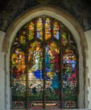 St Andrews Church Wickhambreaux. St Andrews Church 15th century Baptistry window in the Kent village of Wickhambreaux. England royalty free stock photos