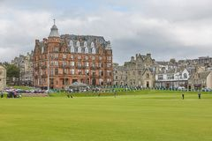 St. Andrews Clubhouse and Golf Course of the Royal & Ancient where golf was founded in 1754, considered by many to be the royalty free stock photos