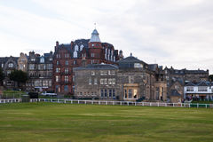 St. Andrews golf clubhouse. St Andrews golf clubhouse building, showing part of 1st and 18th fairways to the front Stock Photos