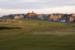 St Andrews Old Course. View of the 1st and 18th holes on the Old Course at St Andrews Royalty Free Stock Photo
