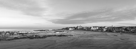 St Andrews Old Course. Black and White Panorama of the 1st and 18th holes on the Old Course at St Andrews Stock Images