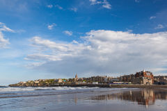 St Andrews panorama. St Andrews viewed from the West Sands Beach, east coast of Fife, Scotland royalty free stock images