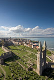 St Andrews from St Rules Tower. St Andrews viewed from the top of St Rules tower in the cathedral grounds royalty free stock photos