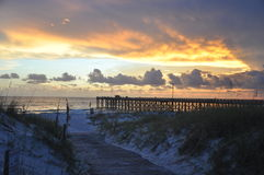 St. Andrews State Park Pier at Sunset. Sunset at St. Andrews State Park on Panama City Beach, FL stock photography