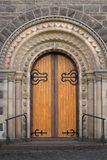 St Andrews Uniting Church Ballarat. View of large timber doors at entrance to St Andrews Uniting Church, Ballarat, Victoria, Australia stock photo