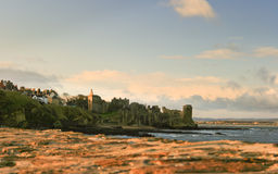 St Andrews waterfront and Castle in Scotland seen from the shoreline Royalty Free Stock Images
