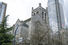 St Andrews Wesley United Church in Vancouver - VANCOUVER - CANADA - APRIL 12, 2017. St Andrews Wesley United Church in Vancouver - CANADA royalty free stock photos